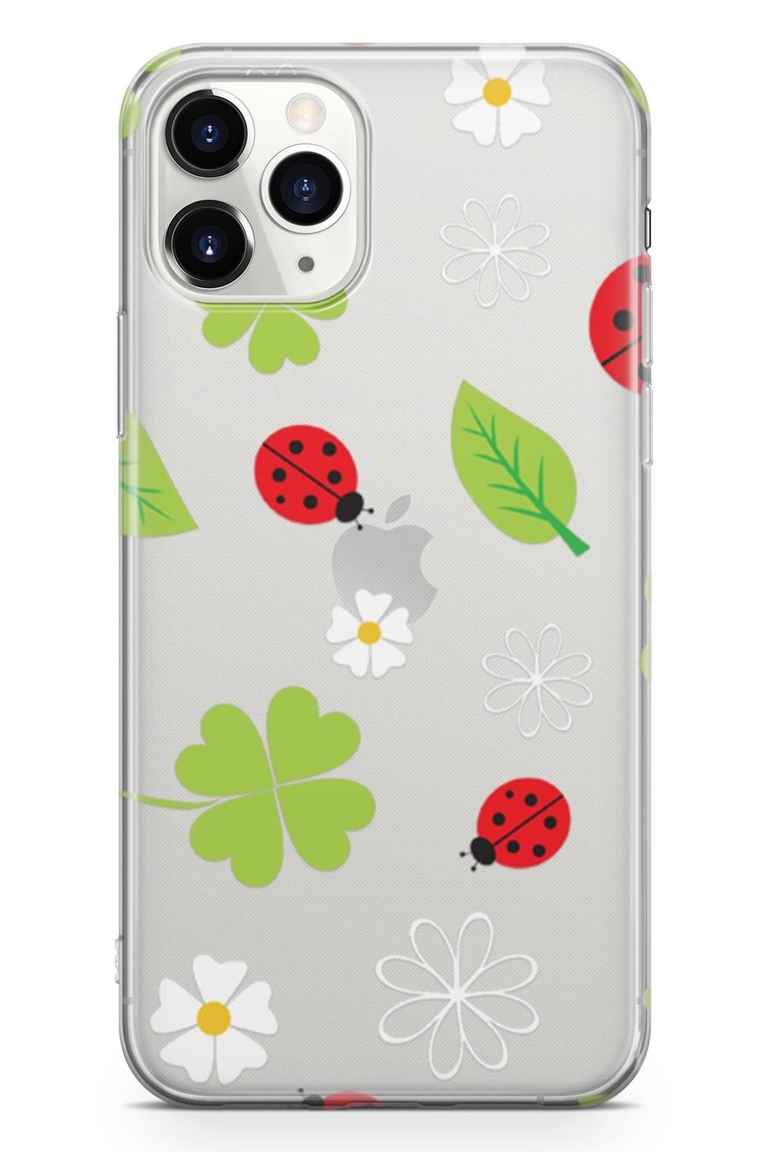 Standart Lopard Apple İphone 11 Pro Kılıf Uğur Böcekleri Yonca Kapak